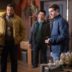 """GRIMM -- """"Good to the Bone"""" Episode 518 -- Pictured: (l-r) Russell Hornsby as Hank Griffin, Reggie Lee as Sgt. Wu, David Giuntoli as Nick Burkhardt -- (Photo by: Scott Green/NBC)"""