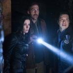 "GRIMM -- ""The Beginning of the End"" Episode 522 -- Pictured: (l-r) Bitsie Tulloch as Eve, Silas Weir Mitchell as Monroe, Reggie Lee as Sergeant Wu -- (Photo by: Scott Green/NBC)"